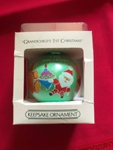 Hallmark unbreakable Satin Ball Ornament Grand Child's 1st Christmas - $7.70