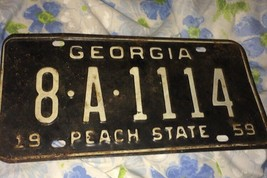 VTG 1959 Georgia Peach State License Plate Tag 8A1114 50s Rust Antique - $66.45