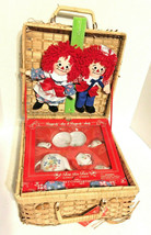 Raggedy Ann & Andy Dolls with Tea Set for 2 16-Piece Applause Johnny Gru... - $27.69