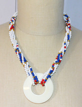 MONET Red White Blue Gold Bead Beaded Pendant Necklace Vintage - $39.59