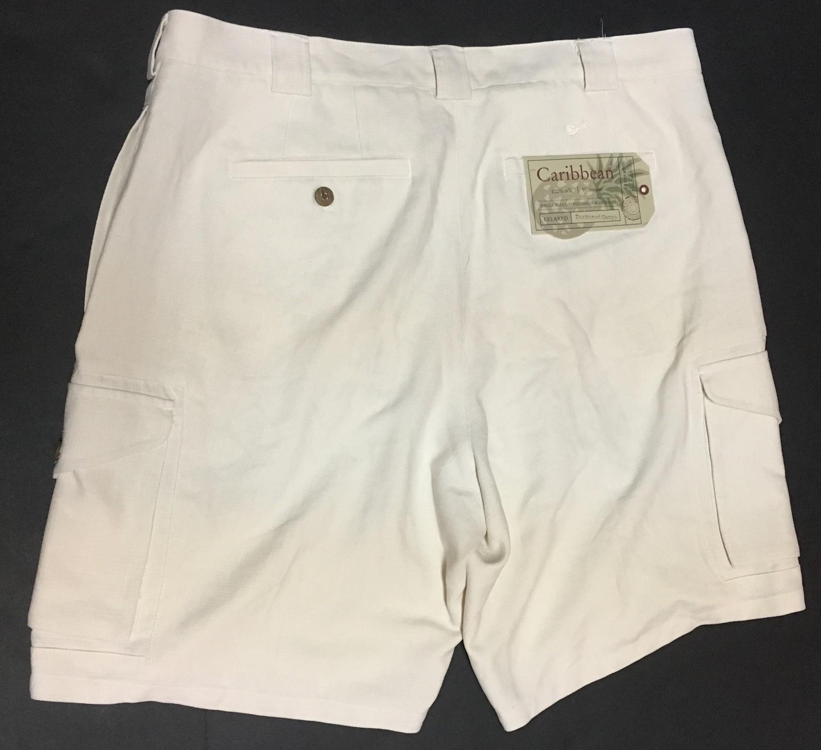 Caribbean Men's Shorts 100% Silk Sz 38 Textured Cargo Whisper White NWT