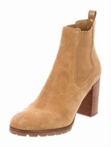 a5ea7116497 Tory Burch Stafford Suede Booties Boots Chunky Heel Boots 10.5