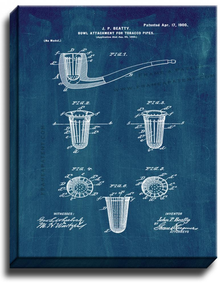 Primary image for Tobacco Pipe Patent Print Midnight Blue on Canvas