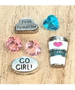 6pcs Go Girl Just Breathe Coffee Heart Floating Charms for Floating Lock... - $2.90