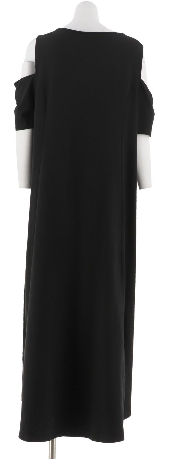 Isaac Mizrahi Cold Shoulder Hi-Low Hem Maxi Dress Black XS NEW A306458