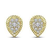 Women's Pear Shape Stud Earrings 14k Yellow Gold Plated 925 Silver Round Cut CZ - $43.20