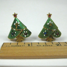 Christmas Tree CLIP ON Earrings Jewelry Vintage 50s 60s Goldtone MOD - $16.82