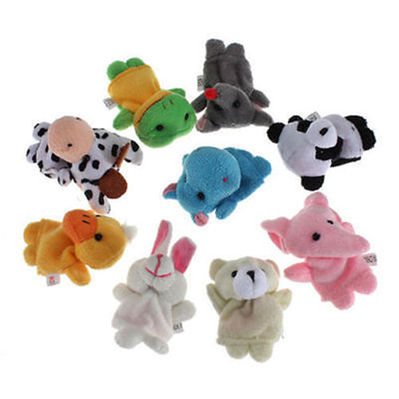 10 x Cute Family Finger Puppets Cloth Doll Baby Educational Hand Animal Toy Gift