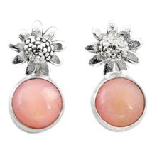 Pink Australian Opal Posts Earrings, 925 Silver, Handmade, Studs - $30.00