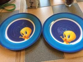 Vintage Tweety Bird PLATE Warner Bros 1998 Plastic Blue Sold Design - $9.50