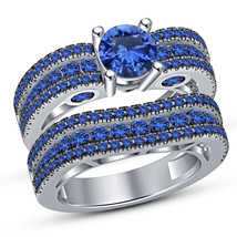 Blue Sapphire 10K White Gold Finish Engagement Ring Wedding Band Bridal ... - $87.99