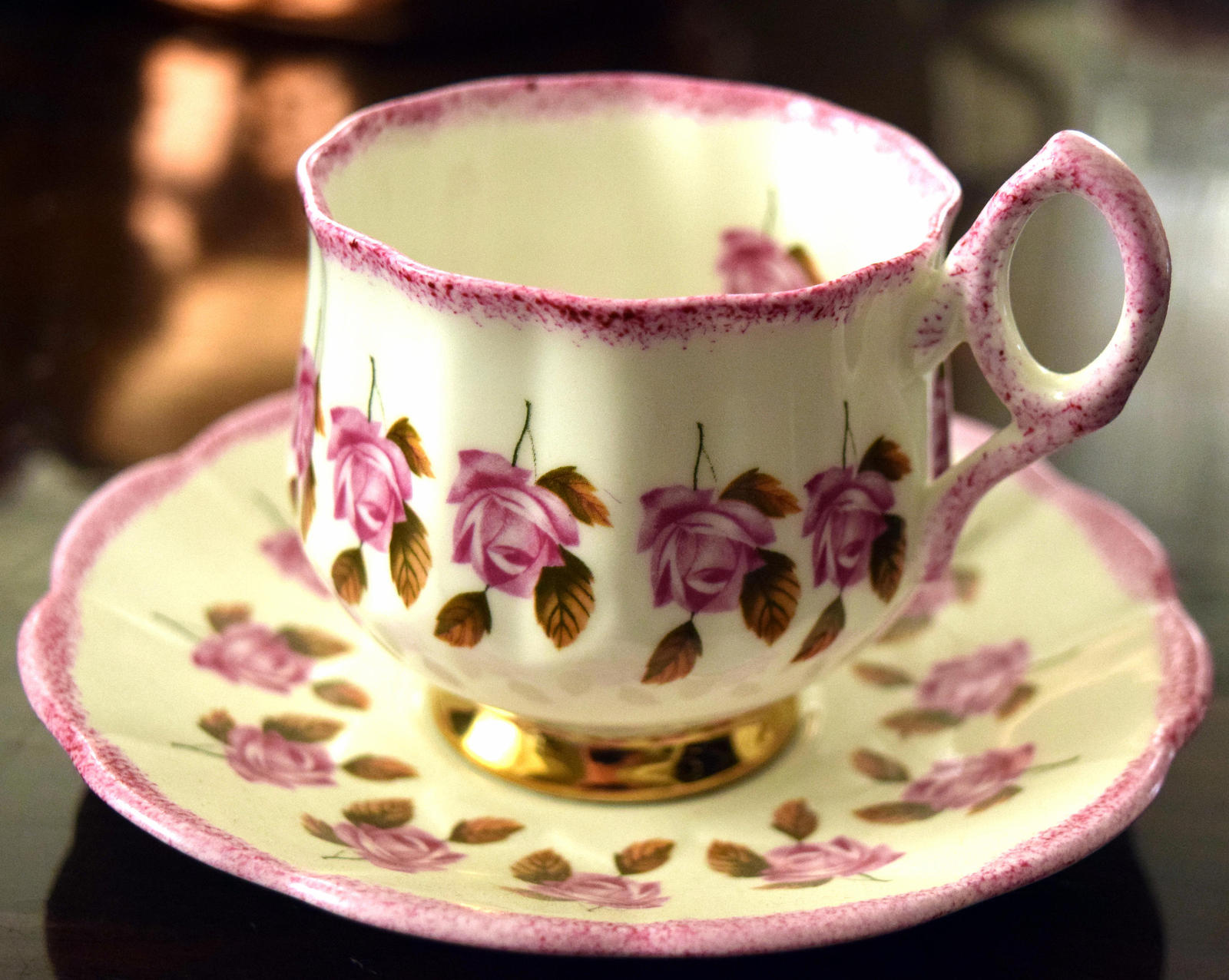 ROSINA Pink Roses Tea Cup Set Vintage 1950's Rosina English Bone China #5641 - $18.45