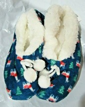 Merry Brite Ladies Sherpa Slippers Red & White Lama on Blue Select Size ... - $14.99