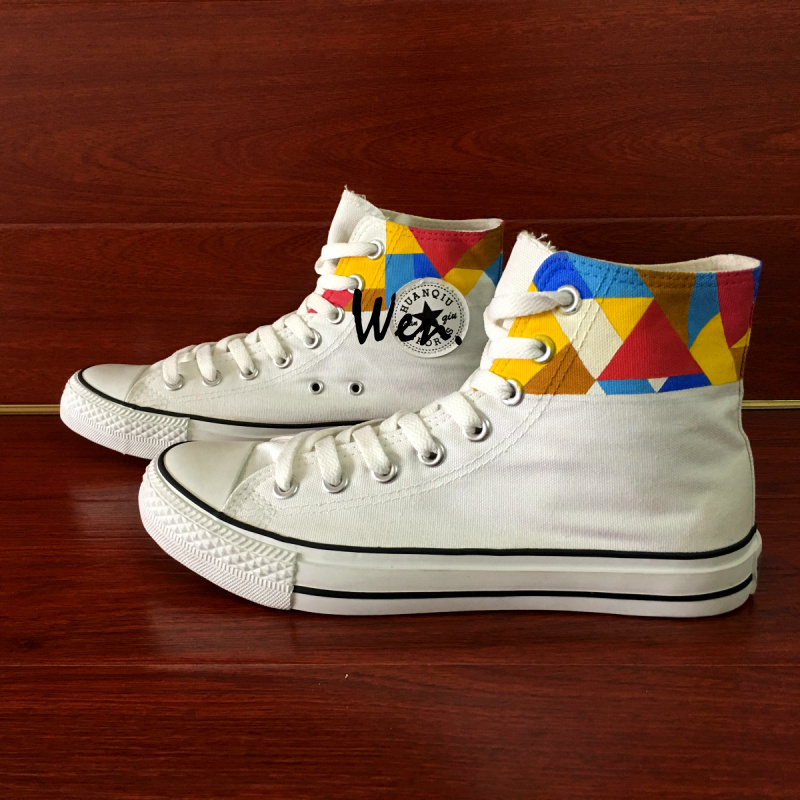 Original Geometric Figure Design Hand Painted Convese Shoes High Top Sneakers
