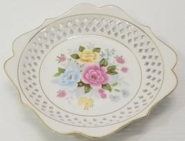 """Floral Fruit Serving Bowl Lattice Design Furnishing Porcelainwares 8"""" Plate - $9.89"""