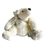 "Hallmark Sparkles Polar Bear 10"" Glitter Metallic Silver Star Bow Plush ... - $23.67"