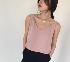 2020 V-neck Chiffon Sleeveless Top Ladies Chiffon Tank Bridesmaid Chiffon Tank T image 8
