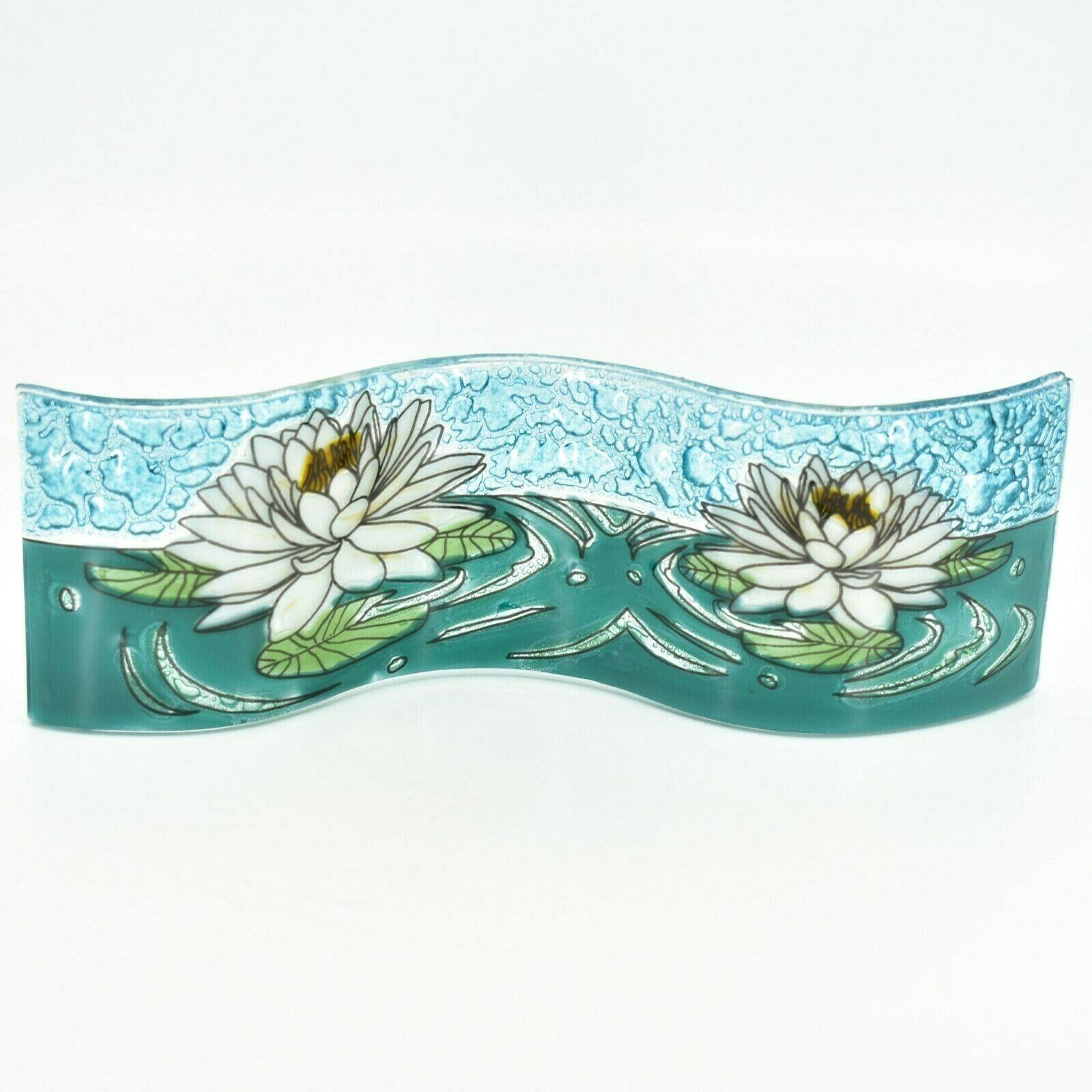 Fused Art Glass White Lotus Flower Wavy Decor Sun Catcher Handmade in Ecuador