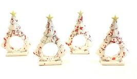 "Vintage Ceramic Christmas Napkin Rings White Speckled Trees 4"" Lot of 4 - $19.99"