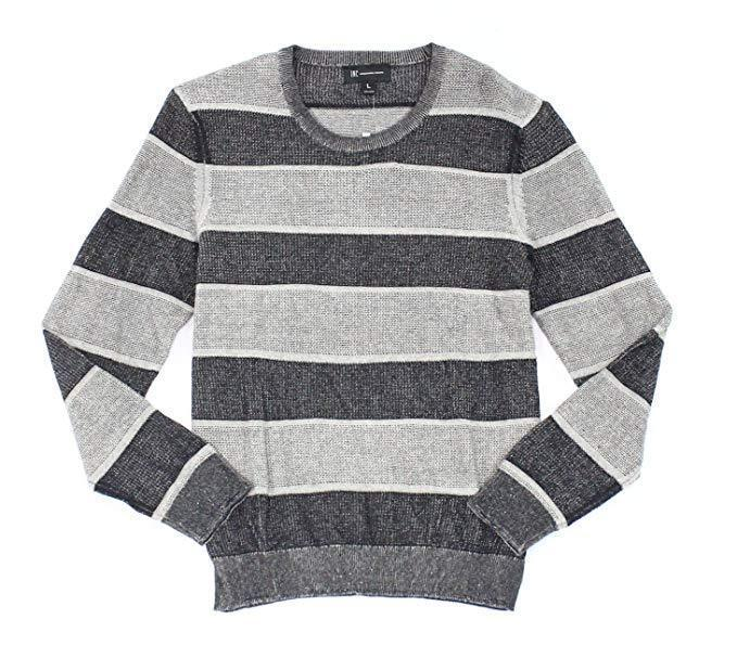Inc International Concepts Men's Penifield Striped Cotton Sweater Deep Black M