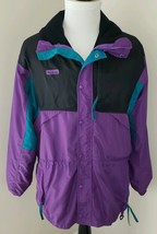 Columbia Size Large Black Teal Purple Radial Sleeve Ski Snow Jacket Men'... - $35.62