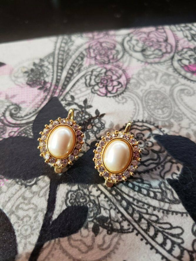 Vintage Trifari Clip On Earrings Gold Tone, White Stone with Clear Stones - $15.99