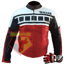 Yamaha Red Motorbike Motorcycle Cowhide Leather Jacket With Free Pair Of Gloves - $214.99