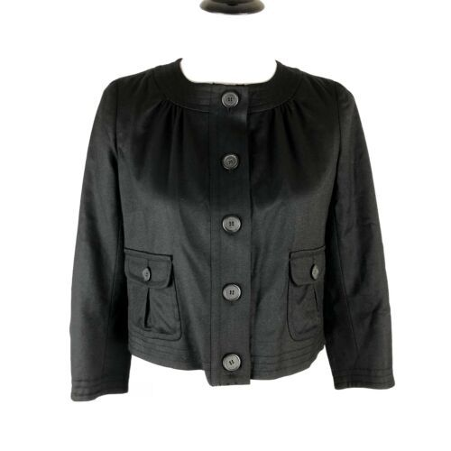 Primary image for J. Crew Cropped Jacket Black Wool Pockets Lightweight Lined Women Size 0