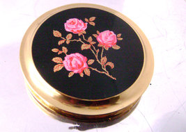 Vintage Enamel Pink Gold Roses Compact Boots Black Gold Tone Unused - $17.00