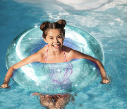 Round Blue Glitter Pool Float - Inflates to Over 42 inches - Repair Patc... - $19.79