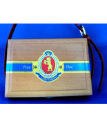 Cigar Box Purse Robusto Lion Cigars Wood Box With Leather Handle Upcycle - $24.00