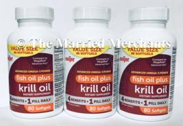 (3) Meijer Fish Oil Plus Krill Oil 500 mg 4 in 1 80 softgels each 8/2021... - $29.88