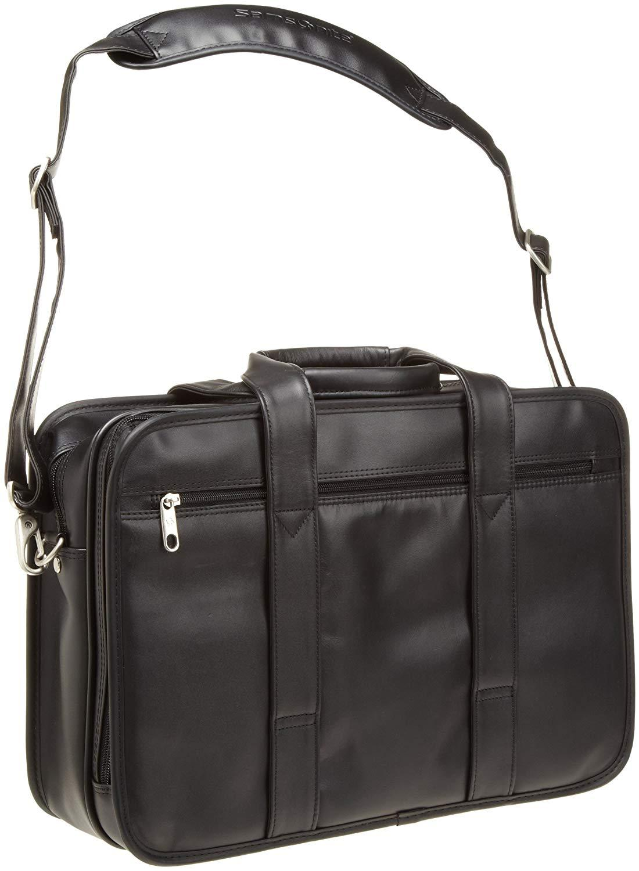"Samsonite 100% GENUINE Leather Portfolio Black 15.4"" COMPUTER COMPATIBLE NEW"