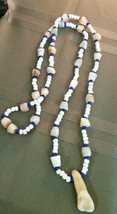 Mixed Medium Vintage Necklace with White Onyx & Glass seed beads Men or ... - $21.77