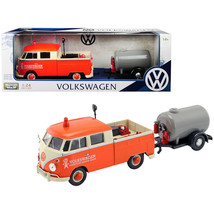 Volkswagen Type 2 (T1) Pickup Truck Orange and Cream with Oil Trailer Ro... - $22.70