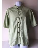 Caribbean Joe Mens Shirt Button Up Large Green Short Sleeve 100% Silk - $14.84