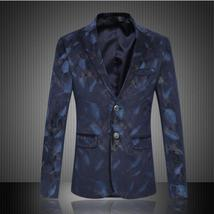 Men Slim Jacket Luxury Blazer Spring Fashion Brand High Quality Cotton S... - $103.60