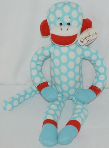 Ganz Brand In Stitches H13368 Light Blue White Red Polka dot Monkey 3 Plus
