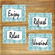 Teal Aqua Bathroom Wall Art Prints Pictures Damask Quotes Relax Unwind Refresh + - $13.99