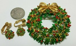 Vintage WEISS Holly Leaves Wreath Pin Brooch & Holly Berry Dangle Clip E... - $43.51