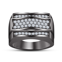 Classic Black Gold Finish .925 Sterling Silver White Simulated Diamond Band Ring - $79.47