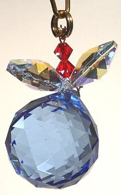 J'Leen Sapphire Ball with Aurora Borealis Leaves Crystal Berry Ornament