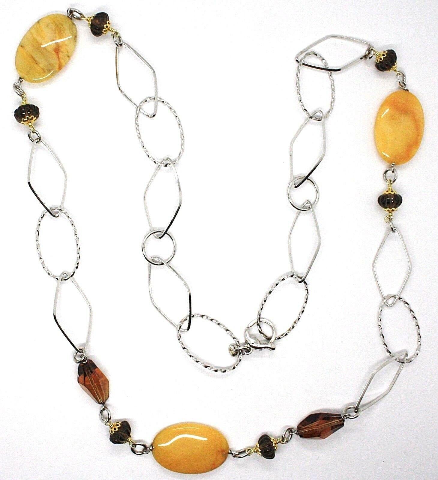Halskette Silber 925, Jade Brown Oval, Quarz Rauchglas, Lang 80 CM
