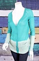 Anthropologie Small S Moth Aqua Blue Green Colorblock Boyfriend Cardigan... - $24.74