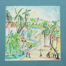 ORIGINAL & RARE FRANTZ CHARLES HAITIAN LANDSCAPE WATERCOLOR ART FRAMED P... - $131.31
