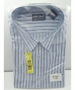 John Blair Men's Dress Shirt Long Sleeve Striped Blues White 17 Regular ... - $14.99