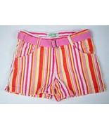 CIRCO GIRLS SIZE 7 SHORTS PINK WHITE YELLOW ORANGE STRIPED STRIPES W/ BELT - $8.11