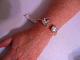 "Charter Club 6.5"" Gold ToneSimulated Diamond Tips  Hinged Cuff Bracelet ... - $12.47"