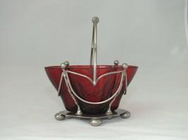 ANTIQUE SILVER PLATED EPNS SWING HANDLED SAUCE POT BUN FEET RED GLASS LINER - $21.03