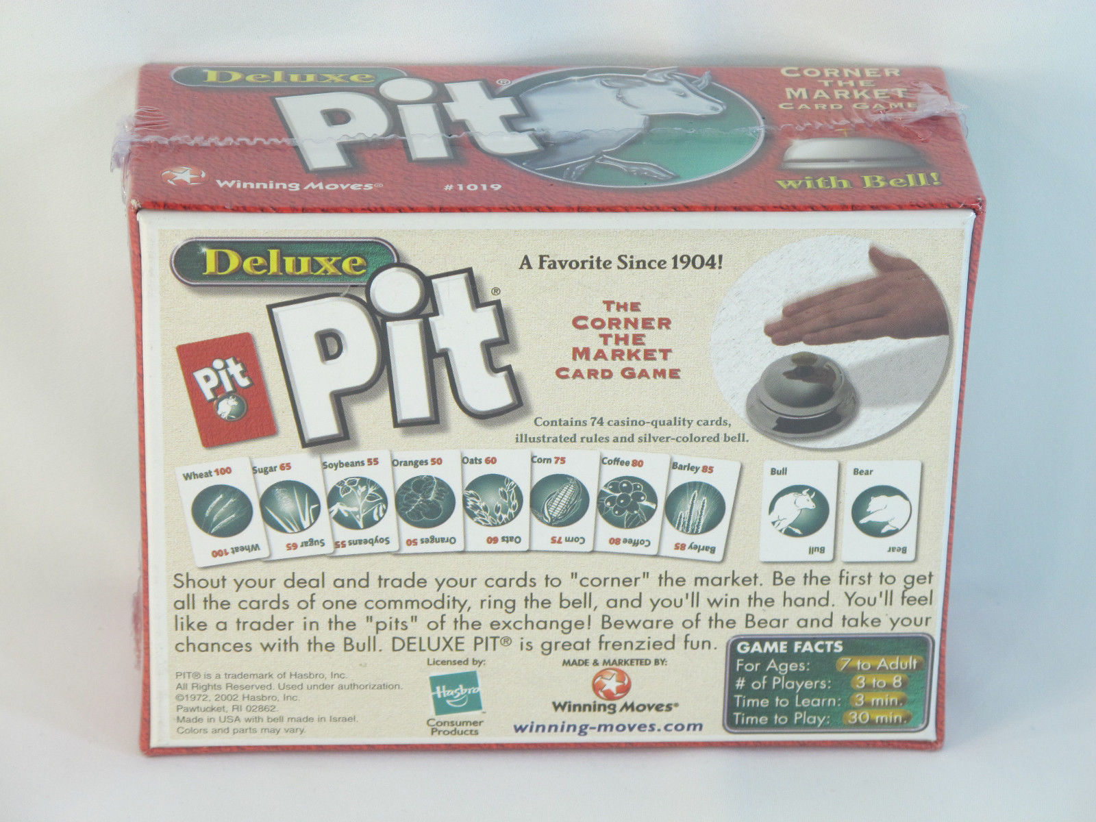Pit Deluxe 2002 Card Game with Bell Hasbro Winning Moves NEW Sealed